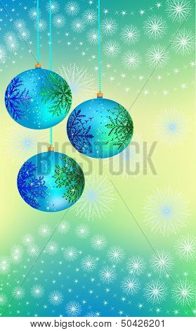 three blue-green Christmas ball