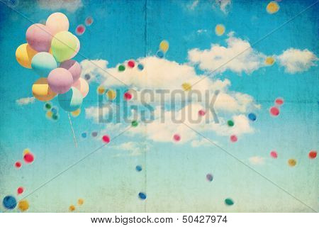Vintage sky and balloons