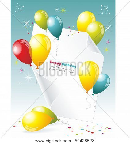 Card to birthday with balloons