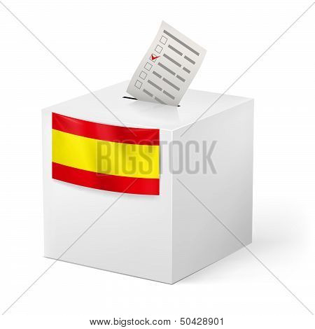 Ballot box with voicing paper. Spain.