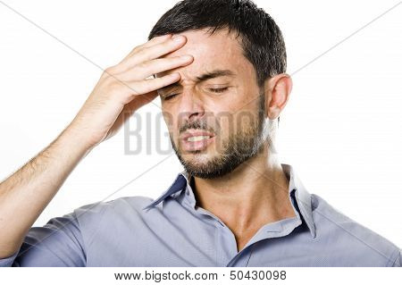 Young Man With Beard Suffering Headache Isolated On White Background