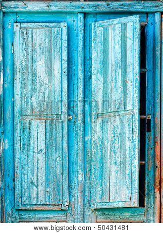Old Blue Wooden Shutters