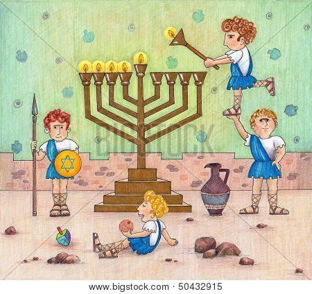 Hanukkah Menorah lighting.