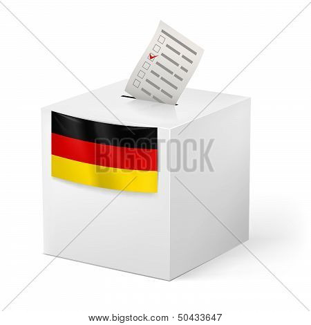 Ballot box with voicing paper. Germany.