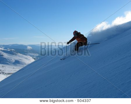 Fast Slalom Skier In Powder1
