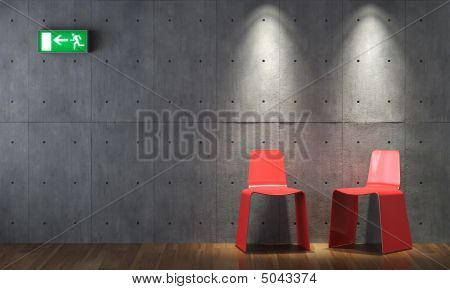 Interior Design Modern Red Cahirs On Concrete Wall