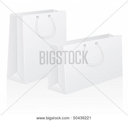 Set Of White Blank Paper Shoping Bag Vector Illustration
