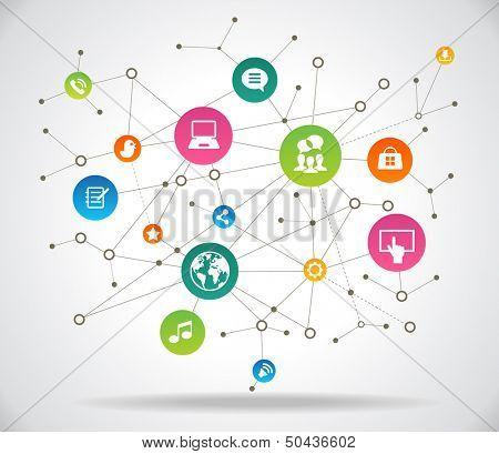 Concepto de Internet. Red social de comunicación en las redes informáticas mundiales. Archivo se guardará en AI1