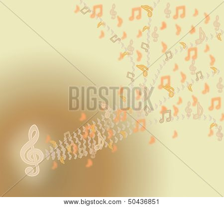 Music beige notes and clef.