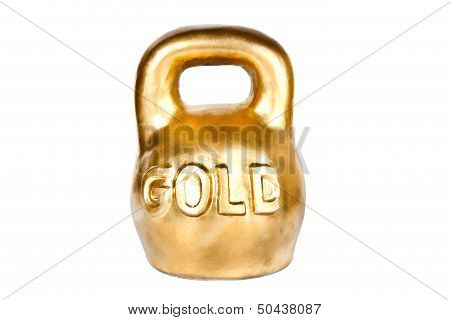 Golden Kettebell Wealth Concept Isolated On White