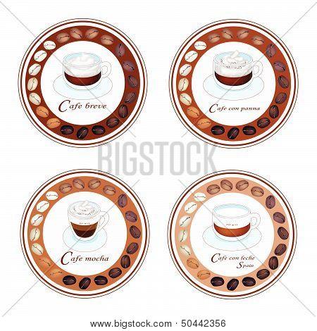 Four Type Of Coffee Beverage In Retro Round Label