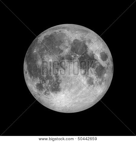 Full moon, lunar on dark night