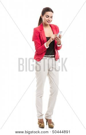 Business woman texting someone, isolated over a white background