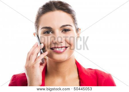 Business woman talking at phone, isolated over a white background