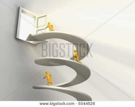 Men Running On Helix To Open Door