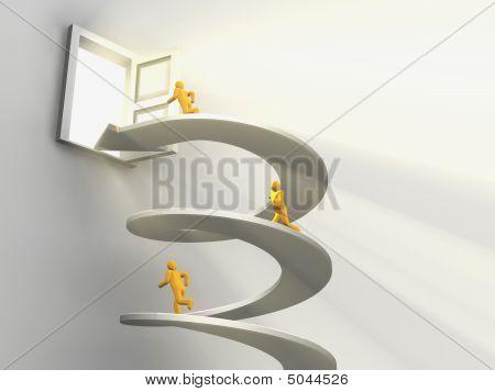 Men Running On Helix To Open Door