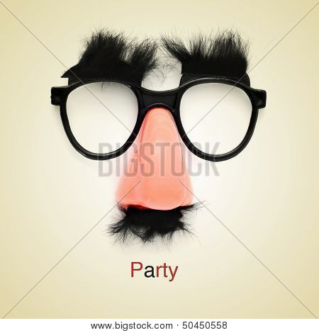 picture of fake glasses, nose and mustache and the word party on a beige background, with a retro effect