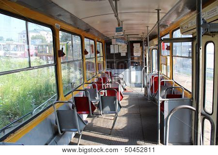 View Inside Of Tramway in Lviv