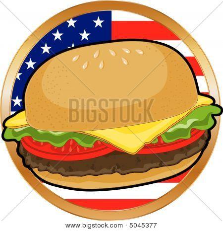 Hamburger and American Flag