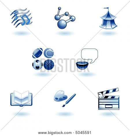 Blue Glossy Category Education Web Icons