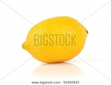 Single lemon isolated on white