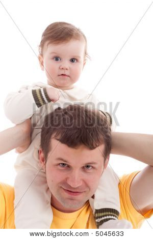 Father With Son On Shoulders Isolated On White