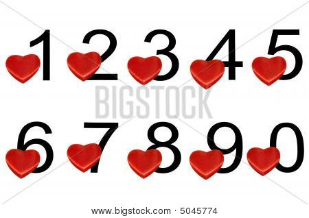 Arabic Numerals With Red Hearts