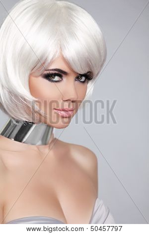 Fashion Beauty Portrait Woman. White Short Hair. Beautiful Girl's Face Close-up. Haircut. Hairstyle.