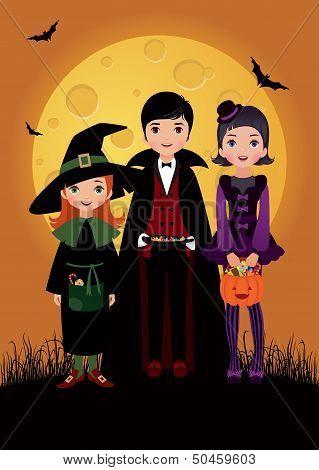 Children In Costume Halloween