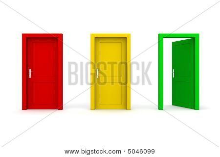 Three Coloured Doors - Open Green