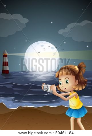 Illustration of a girl taking photos at the beach