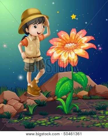 Illustration of a girlscout near the giant flower
