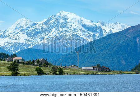 Summer Reschensee Alpine View (italy).