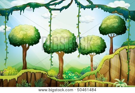 Illustration of the trees in the forest under the rays of the sun