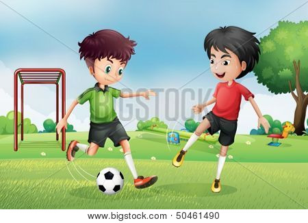 Illustration of the two boys playing soccer near the park