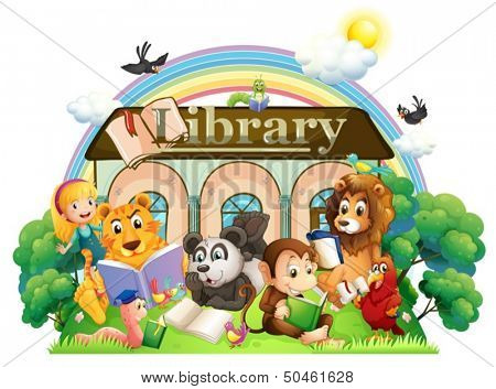 Illustration of the animals reading in front of the library on a white background
