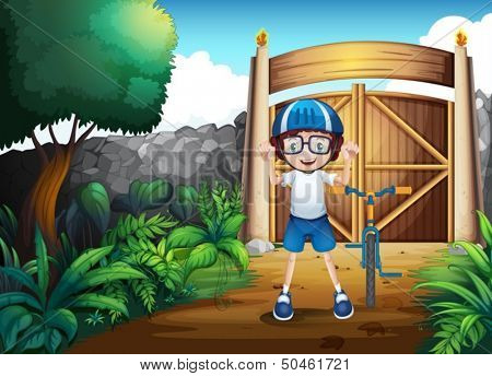 Illustration of a happy boy standing beside his bike inside the gated yard