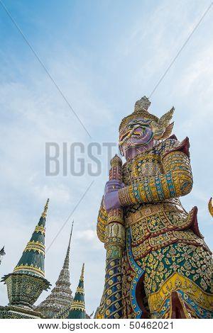 Purple Giant At Wat Phra Kaew, Bangkok, Thailand