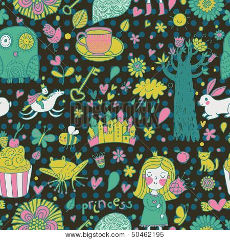 Funny fairytale seamless pattern with little princess, horse, magic tree, castle, frog, key, cake. Sweet vector background can be used in birthday design, children bedroom.