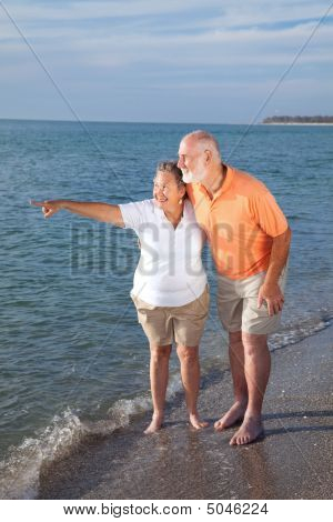 Seniors Sightseeing At The Beach