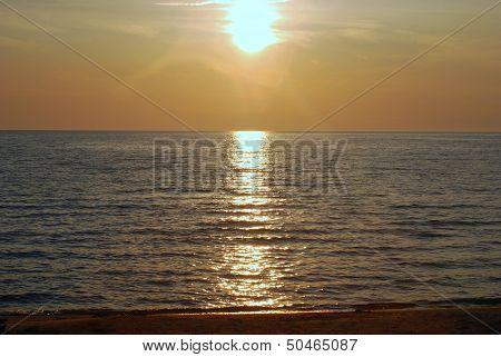 Sunset on the Shore Near Mackinaw City