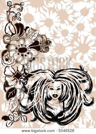 Graffiti Girl Floral Vector Border