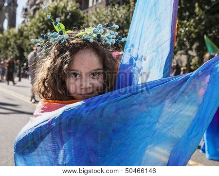 Girl With Blue Cape