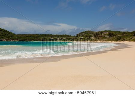 Golden Sandy Beach At Half Moon Bay Antigua