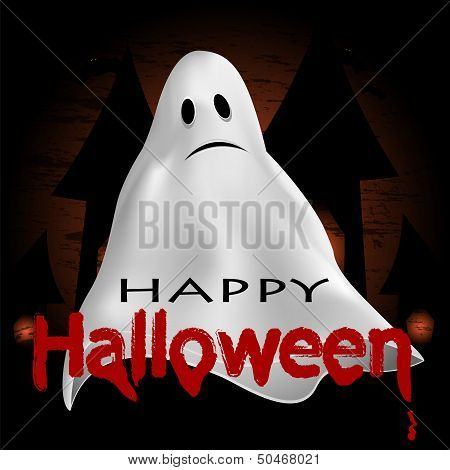 Halloween Background.ghost On A Dark Background.vector