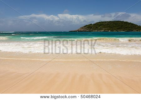 Atlantic Waves On Beautiful Golden Sandy Beach Antigua