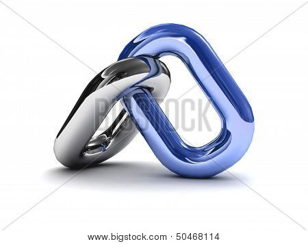 Chain link isolated on white background. Concept 3D illustration.