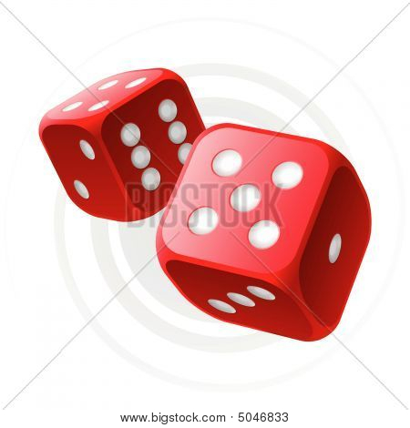 Red Dices. Vector