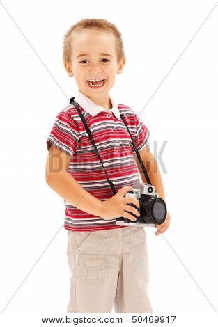 Happy Little Boy With Camera