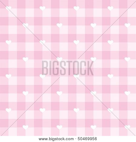 Seamless vector sweet pink valentines background full of love - checkered pattern or grid texture